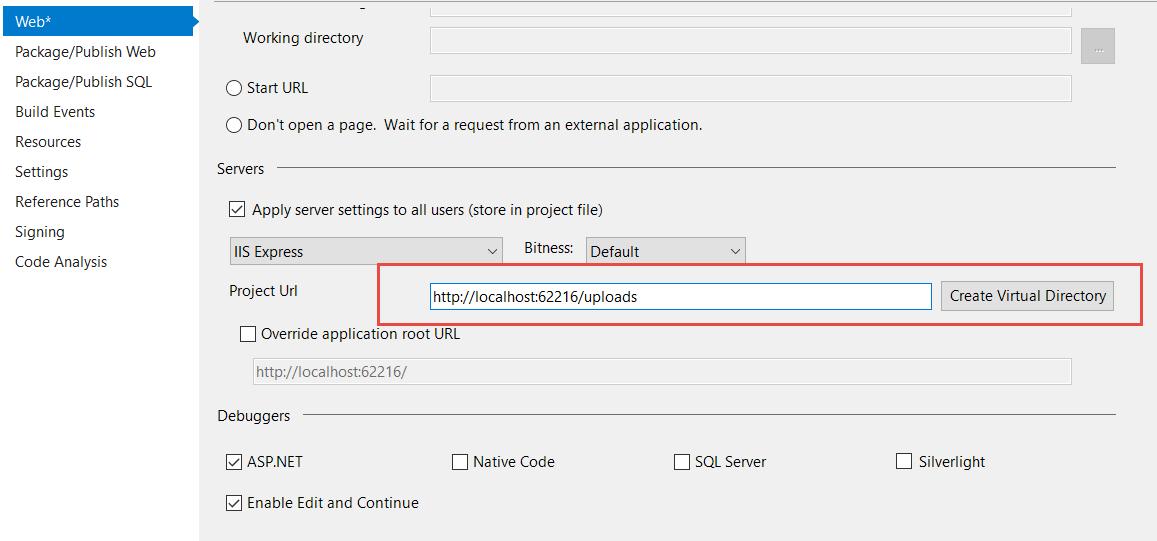 Create Virtual directory in Visual Studio 2017 IIS Express
