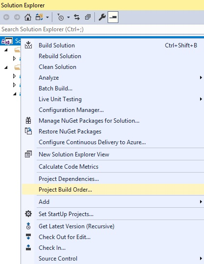 Set Project Build Order in Visual Studio – InTheTechPit
